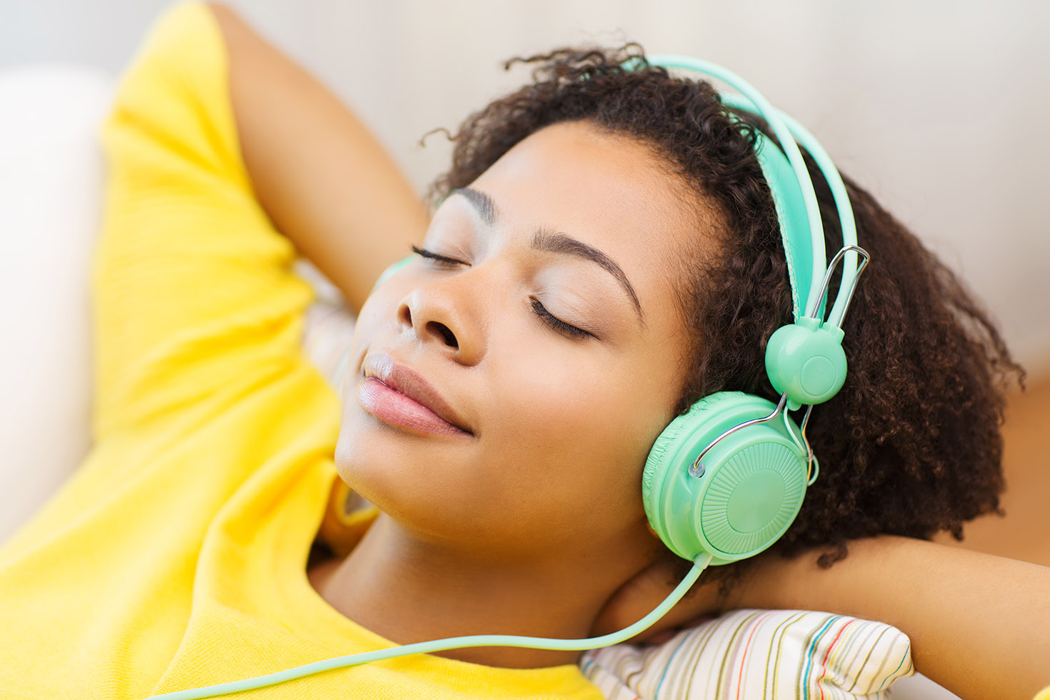 Peaceful Girl with Headphones